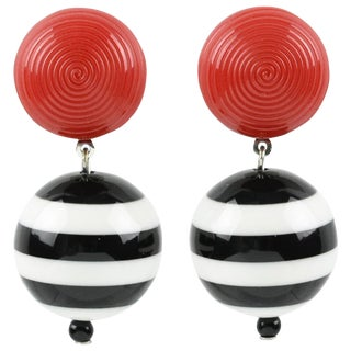 Angela Caputi Black White Red Nautical Color Dangling Resin Clip on Earrings For Sale
