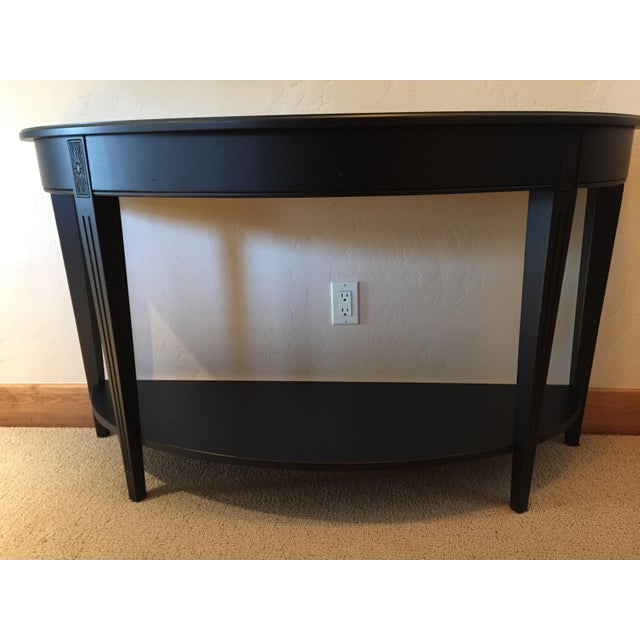 Ethan Allen Ethan Allen Charcoal Wood Demilune Sofa Table For Sale - Image 4 of 4