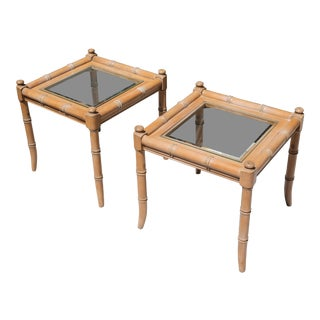 Vintage Wood Faux Bamboo Side Tables With Glass Inserts - a Pair For Sale