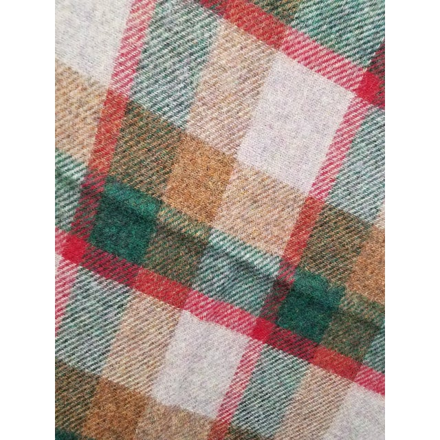Wool Throw Green, Red, Brown in a Check Design - Made in England For Sale - Image 10 of 11