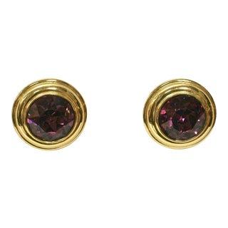 Monet Alexandrite Glass Gold Clip Back Earrings For Sale