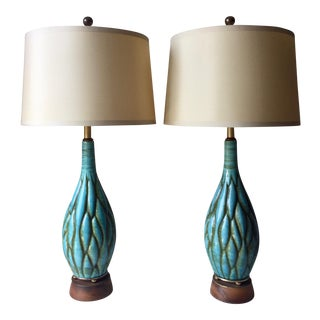 2 Italian Ceramic Turquoise Lamps-Silk Shades For Sale