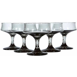1960s Grey Smoked Glass Coupe Glasses - Set of 5