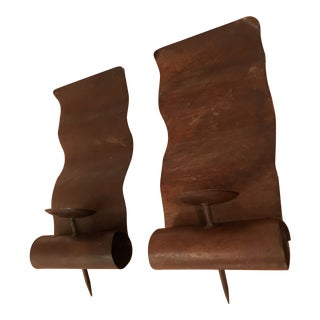 Mid-Century Forged Iron Brutalist Candle Sconces With Copper Patina Finish - a Pair For Sale