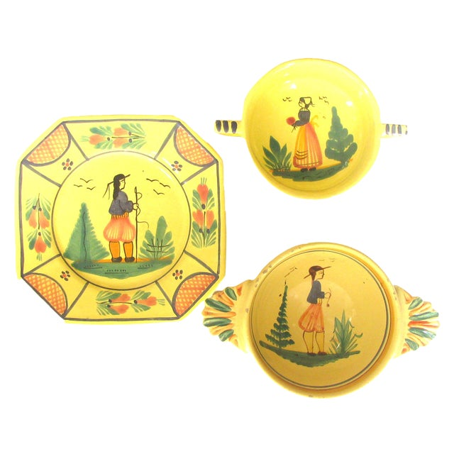 Vintage French Yellow Quimper Collection, Set of 3 For Sale