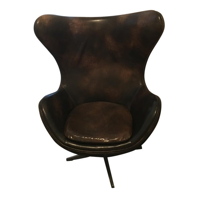 Restoration Hardware Copenhagen Leather Wingback Chair For Sale