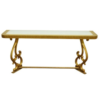 1970s Hollywood Regency Gold Leaf Greek Key Console Table For Sale