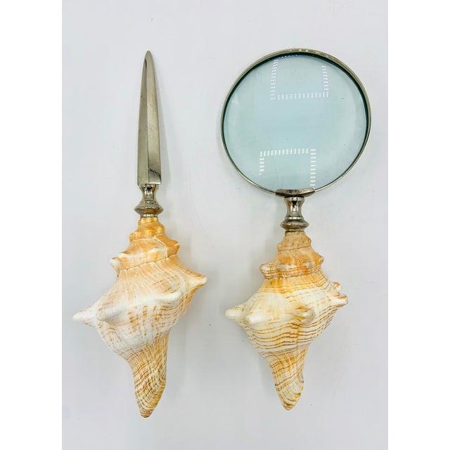 Conch Seashell Magnifying Glass & Letter Opener Desk Set For Sale - Image 12 of 12
