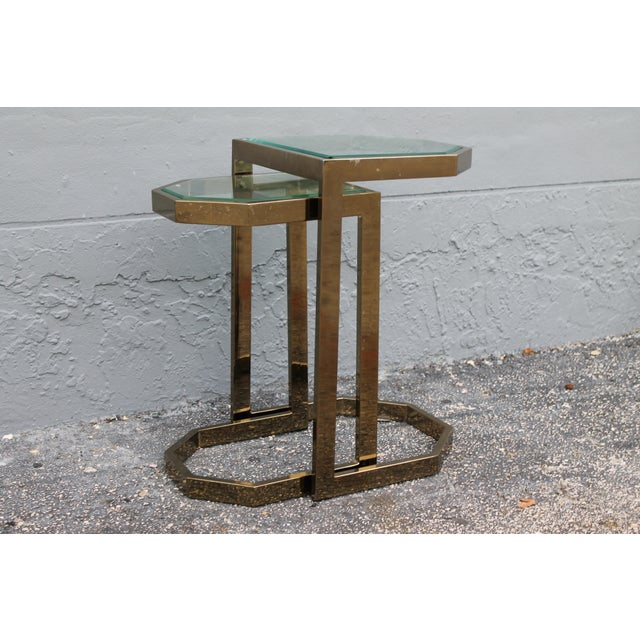 Mid-Century 2 Tier Brass Glass Nesting Tables - A Pair - Image 9 of 11