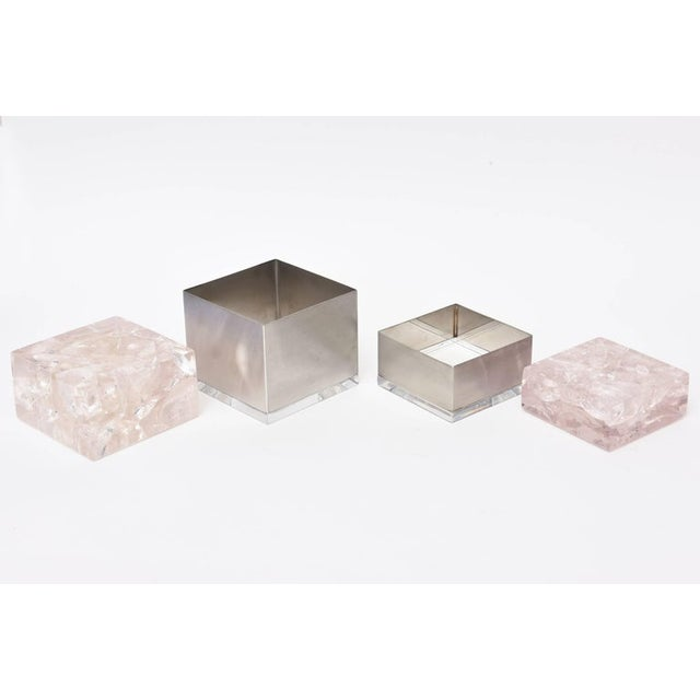 Contemporary Pierre Giraudon Embedded Lucite and Stainless Steel Boxes-A Pair For Sale - Image 3 of 11