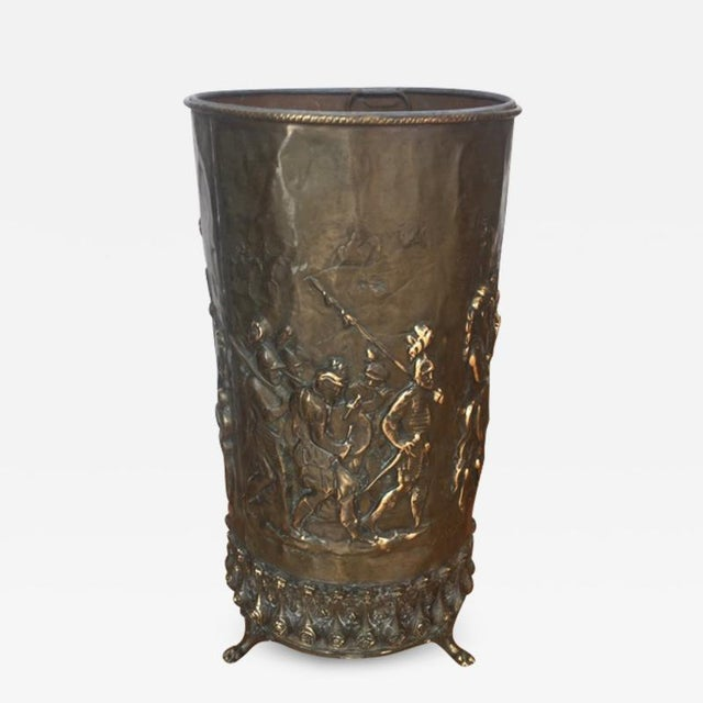 Brass 20th Century Gothic Revival Brass Umbrella Stand For Sale - Image 7 of 7
