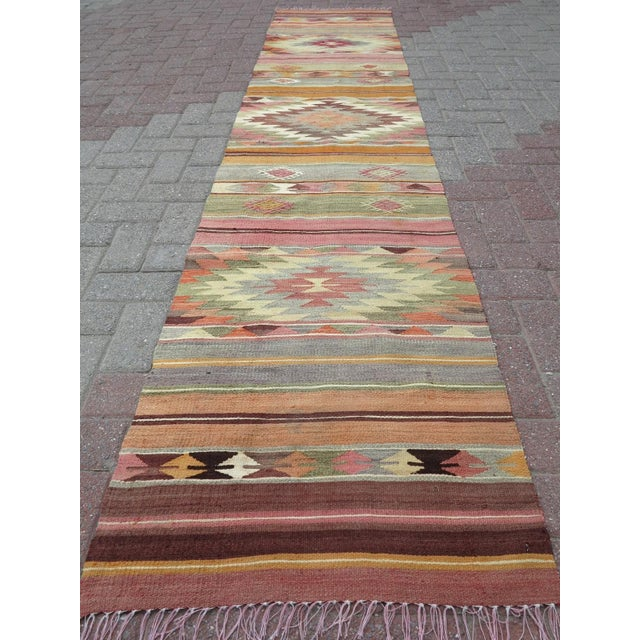 "Anatolian Kilim Runner Pastel Colored Hallway -2'1'x10"" For Sale - Image 13 of 13"