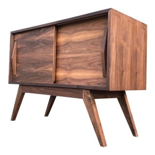 Mid Century Walnut Compact Credenza For Sale