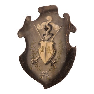 19th Century French Carved Painted Wall Hanging Shield With Family Crest For Sale