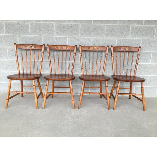 L. Hitchcock Maple Harvest Windsor Side Chairs - Set of 4 For Sale - Image 9 of 9