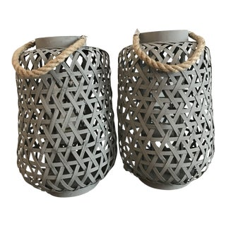 Extra Large Bamboo Grey Glass Lantern Candle Holders - a Pair For Sale