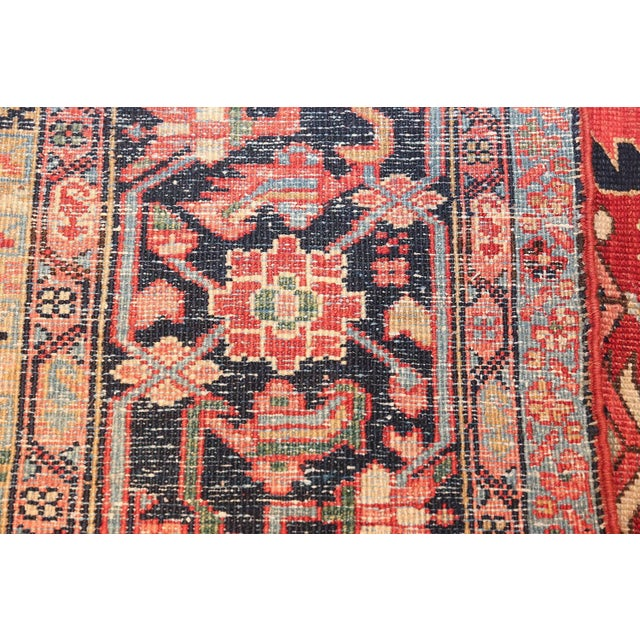 1920s Room Size Antique Persian Heriz Geometric Rug - 11′ × 14′5″ For Sale - Image 5 of 13