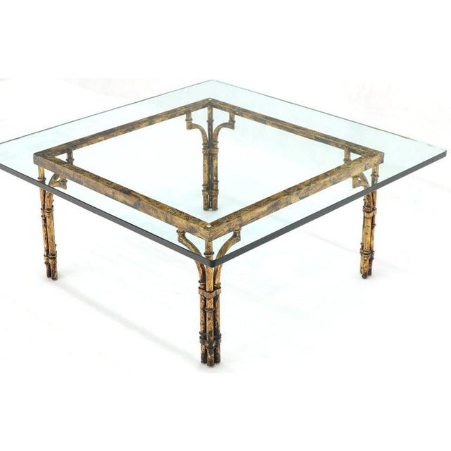 Faux Bamboo Gold Gilt Frame Square Glass Top Coffee Table For Sale - Image 6 of 12