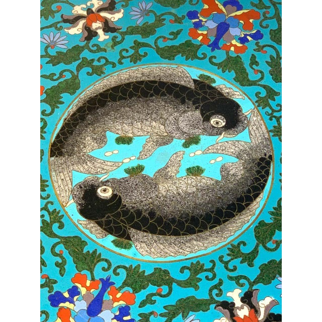 Chinese Export Black Lacquer and Cloisonné Koi Motif Table For Sale In West Palm - Image 6 of 13