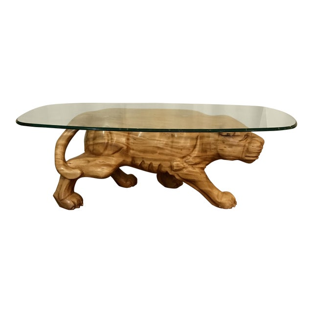 carved wooden cougar coffee table - Carved Wooden Coffee Tables