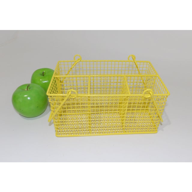 Yellow Electric Yellow Bathroom Toiletries Catchall Basket For Sale - Image 8 of 9