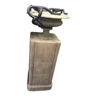 Pedestal & Jardinere With Bronze Snakes For Sale