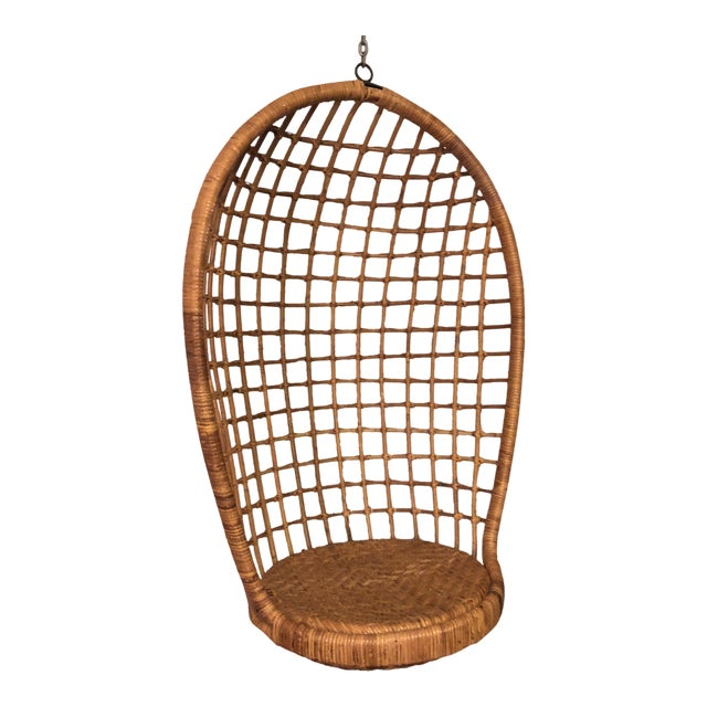 Mid-Century Ficks and Reed Style Bamboo Hanging Chair For Sale