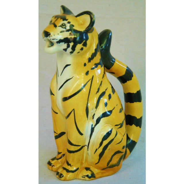 Italian Hollywood Regency Tiger Pitcher For Sale - Image 4 of 8