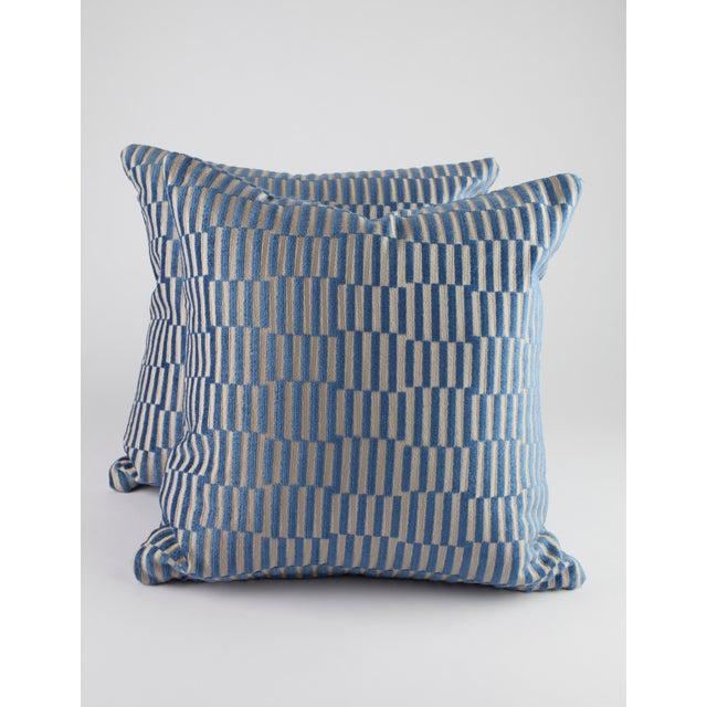 "Blue 18""x 18"" Geometric Manuel Canovas Down Pillows For Sale - Image 8 of 8"