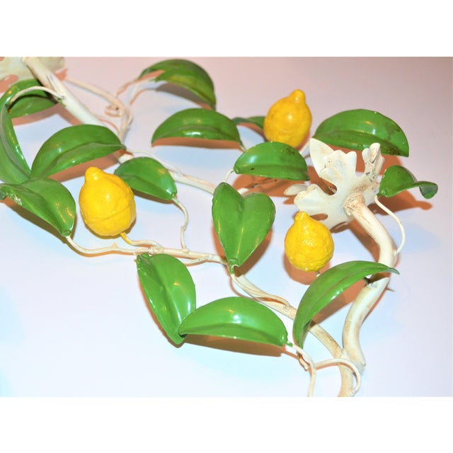 Bronze Italian Hand Painted Lemon Tree Tole Wall Sconces - a Pair For Sale - Image 7 of 8