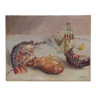 Mid-20th Century Oil Painting Still Life of Lobsters and Wine For Sale