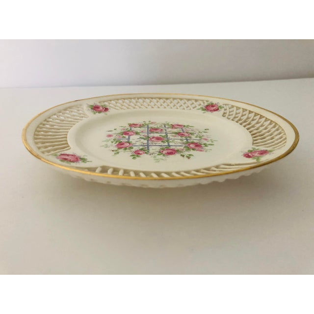 Shabby Chic Antique Max Roesler Germany Reticulated Basket Weave Plate For Sale - Image 3 of 5