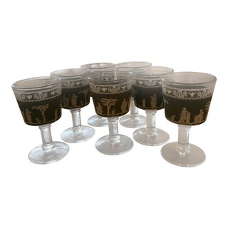 Jasperware Green Greek Cordial / Aperitif Glasses - set of 7 For Sale