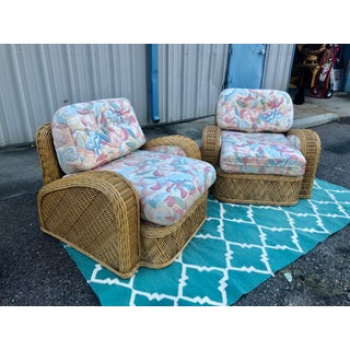 1980s Vintage Jay Spectre Steamer Rattan Chairs - a Pair Preview