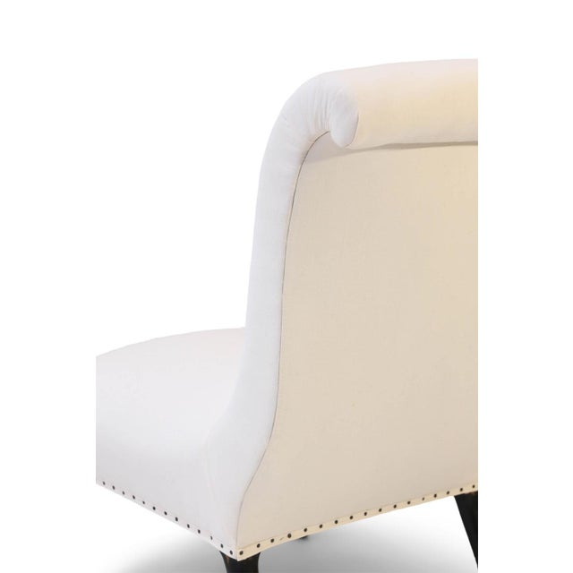 White Napoleon III Slipper Chairs- A Pair For Sale - Image 8 of 10