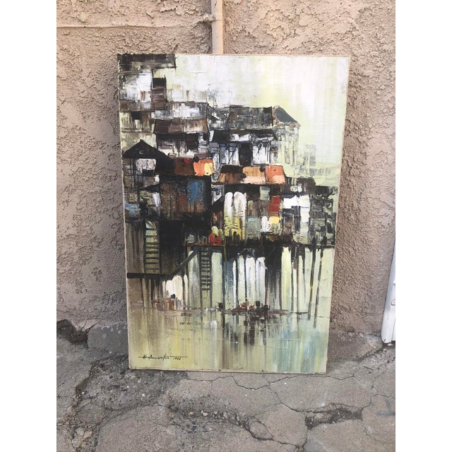 """1966 """"Houses on Stilts"""" Oil Painting For Sale - Image 9 of 9"""