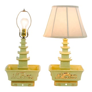 1970s Chinoiserie Green Ceramic Pagoda Planter and Table Lamps - a Pair