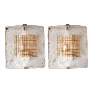 Pair of Mid-Century Modernist Sconces in Handblown Murano Glass by I Tre For Sale