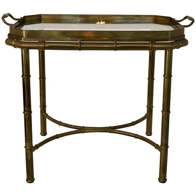 Faux Bois Campaign Style Patinated Brass Tray Table, by Mastercraft For Sale - Image 9 of 9