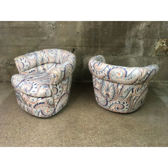 1990s Vintage Custom Sculptural Swivel Club Chairs- A Pair For Sale - Image 4 of 10