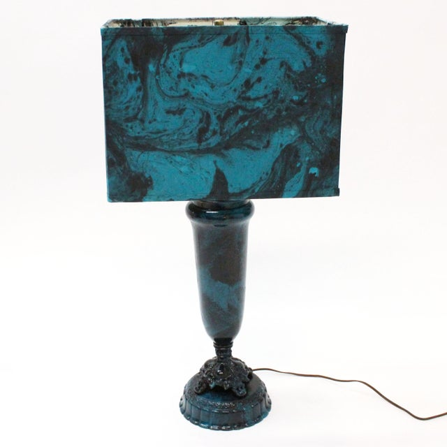Transitional Marble Blue Table Lamp - Image 2 of 5