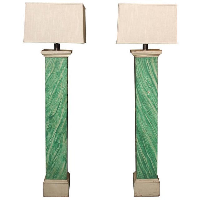 White Faux Malachite Floor Lamps For Sale - Image 8 of 8