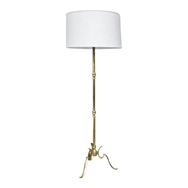 Brass Cast Tripod Base Floor Lamp For Sale