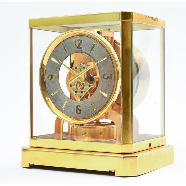 Art Deco Case Glass Brass Jaeger Le Coultre Mantel Desk Clock For Sale - Image 3 of 13