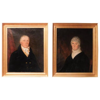 Oil on Canvas Pair of Portraits of a Couple, Probably New York, circa 1810 For Sale