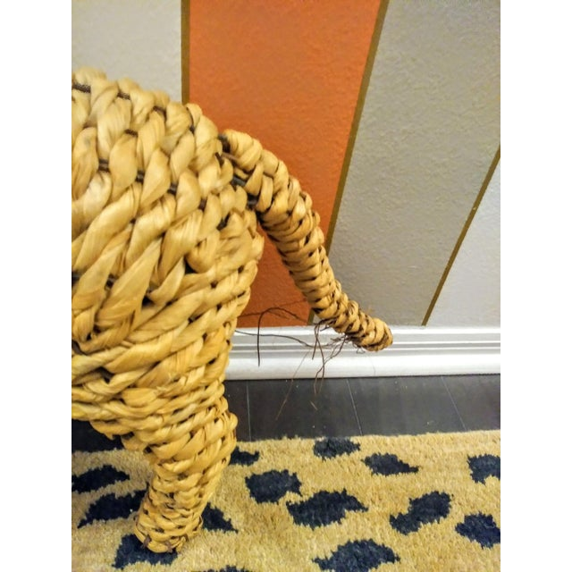 Vintage Mario Lopez Torres Style Raffia Wicker Whimsical Lion Figure Statue Decor For Sale In West Palm - Image 6 of 7