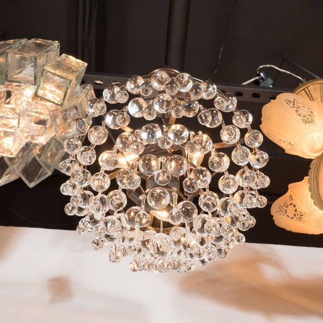 Hollywood Regency Crystal Teardrop and Ball Chandelier with Bronze Fittings For Sale - Image 4 of 10