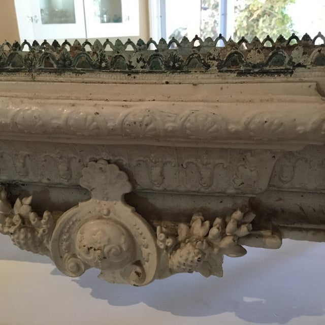 Shabby Chic White Metal Planter For Sale - Image 4 of 6