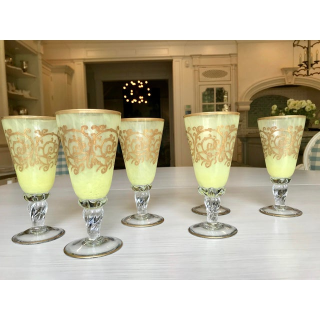 Murano glass, hand-blown goblets. Excellent quality!! Beautiful, opulent, ombré chartreuse-yellow color, brighter color at...