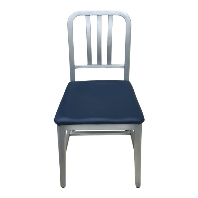 Vintage GoodForm Aluminum Chairs With Navy Leather For Sale